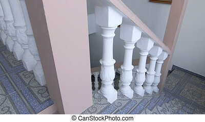 Staircase with traditional white balustrade. Mediterranean...