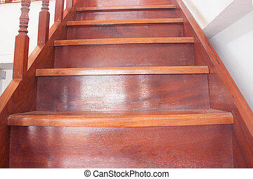 staircase with wooden steps at thailand house