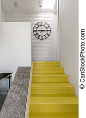Staircase with yellow steps