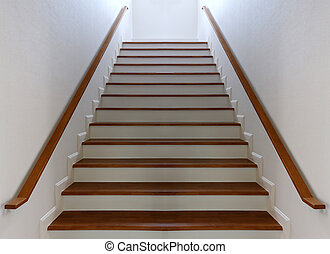 Staircase - Wood staircase with Wood railing