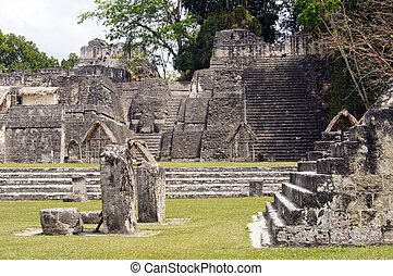 Tikal - Staircases, stones and pyramids in Tikal, Guatemala...