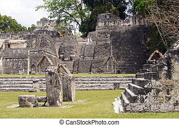 Tikal - Staircases, stones and pyramids in Tikal, Guatemala...