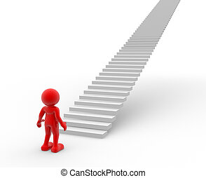 Stairs - 3d people - human character and stairs . 3d render...