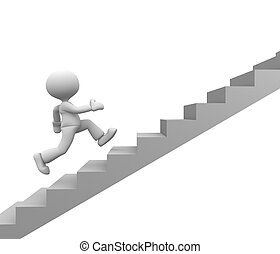 Stairs - 3d people - man, person running on stairs. To...
