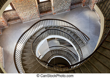 Frombork, Poland - Sept, 7, 2020: Stairs and Foucault's Pendulum suspended within the belfry or Radziejowski Tower on Cathedral Hill, Frombork. Poland