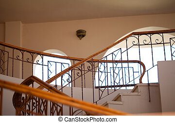 Stairs and handrails in hotel perspective view