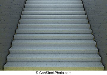 Stairs, entire view, 3d rendering, horizontal image