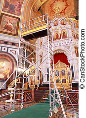 Stairs for restoration near Altar inside Cathedral of Christ the Saviour in Moscow, Russia
