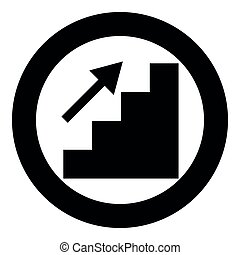 Stairs growth icon black color in circle