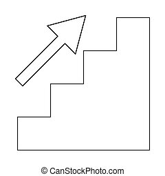 Stairs growth the black color icon .