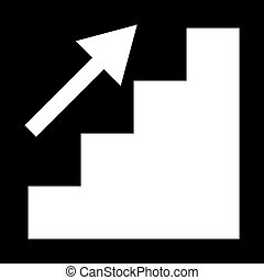 Stairs growth the white color icon .