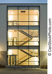 Stairs in a building at dawn