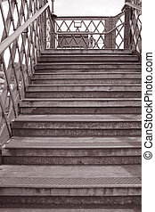 Stairs in Black and White Sepia Tone