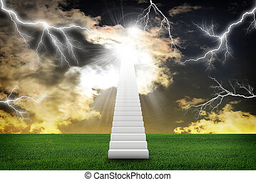 Stairs in sky with green grass and thunderstorm. Concept...