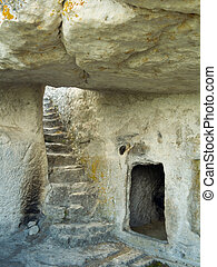 Stairs in stony cave house - Stairs in stony house, ruins of...