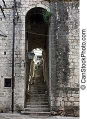 Stairs in the old town of Kotor on Adriatic coast of Montenegro.