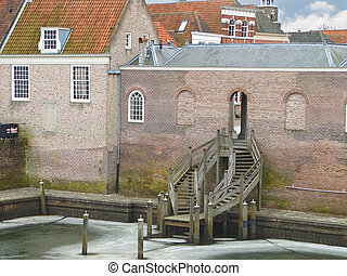 Stairs in the port city Heusden. Netherlands