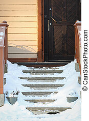 Stairs in winter - Stairs with snow in winter