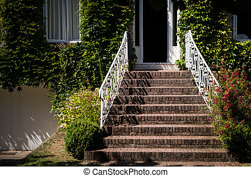 Stairs leading to the entrance of a house