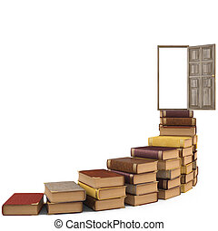 books - stairs made of books leading to the open door. ...