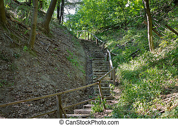 Stairs on a hill
