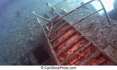 Stairs on Salem Express shipwrecks underwater in the Red Sea...
