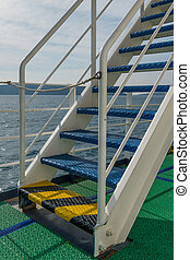 Stairs on the deck of a ferry boat
