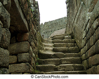 Stairs - Ruins of Machu Picchu in the andes of peru.