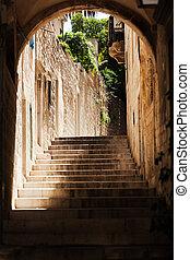 Stairs in historic Dubrovnik, Croatia
