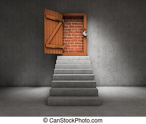 Stairs to a blocked door
