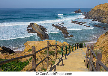 Stairs to beach on Algarve Coast in Portugal