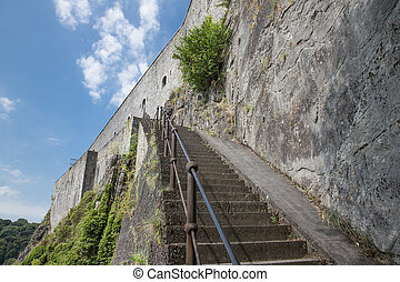 Stairs to citadel of Dinant in Belgium