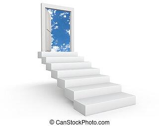 Stairs to door in the sky