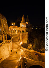 Stairs to Fisherman Bastion at Night in Budapest
