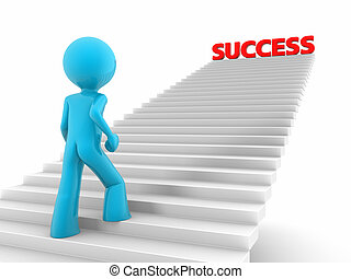 3d rendered red man walks upstairs; stairs with a 'success' word on the top