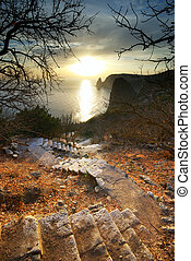 Stairs to sun. Nature composition.