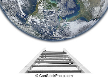 stairs to the Earth concept. Elements of this image furnished by NASA