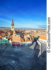 Stair's Tower and Sibiu old town view from top