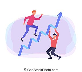 Stairs up teamwork. Successful business concept. Vector flat cartoon design graphic illustration