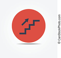 Stairs up vector icon