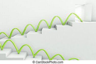 Stairs Way to Success, 3d business concept