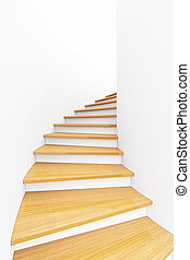 Stairs with bright colored wood and white walls