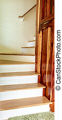 Stairs with bright colored wood