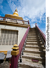 stairs with pagoda in the temple