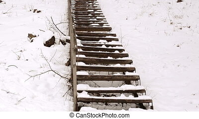 stairs wooden hill snow