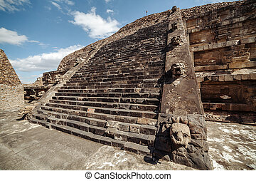 Stairway and the carving details of Quetzalcoatl Pyramid at...