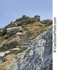 stairway at Skopelos at the Sporades island group in Greece