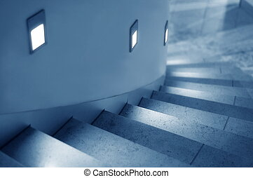 Stairway - curved lighted stairway