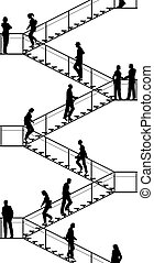 Editable vector silhouettes of people walking up and down flights of stairs with all elements as separate objects