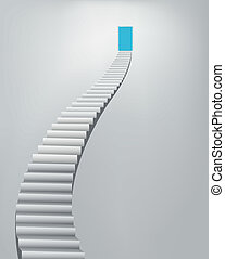 stairway, himmel, dörr